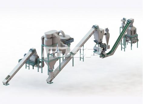 Linha de produção de granulação de cascas e bagaços de frutas de biomassa de 1 t