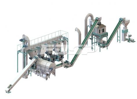 Linha de produção de granulação mista de serragem e lodo de 4-6 toneladas por ho