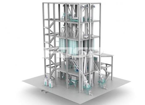 O projeto da linha dúpla de produção de ração para ruminantes SZLH420  (produção