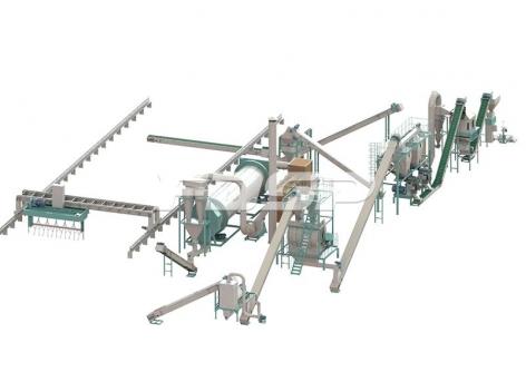 Linha de produção de granulação de fertilizante bio-orgânico com uma produção de 4-5 toneladas de resíduos sólidos urbanos por hora