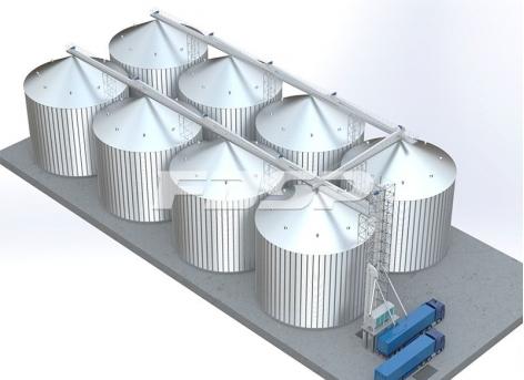 Projeto de silo de aço de soja 8-4000T da indústria de grãos