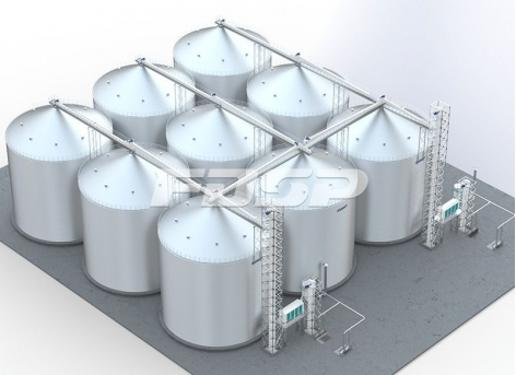 Silo de aço de milho 9-6000T para a indústria de ração