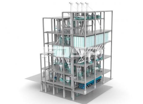 Linha de produção de ração de quatro linhas SZLH420 (40 toneladas por hora) para gado e aves